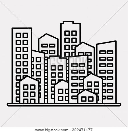 Cityscape. City Modern Buildings, Housing District, Town Homes. Black Outline Design On Gray Backgro