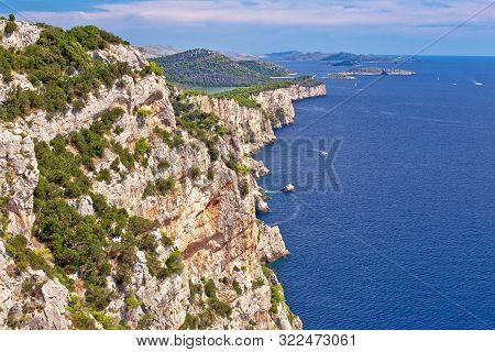 Cliffs Of Telascica Nature Park On Dugi Otok Island, Dalmatia Archipelago Of Croatia