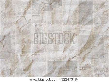 Newspapers Vintage Grunge Paper Background. Blurred Old Newspaper Texture. A Blur Unreadable Crumple