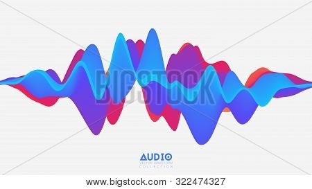 Vector 3d Solid Surface Audio Wavefrom. Abstract Music Waves Oscillation Spectrum. Futuristic Sound