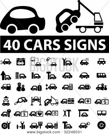 40 cars signs. vector