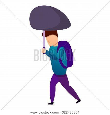 School Boy Umbrella Under Wind Icon. Cartoon Of School Boy Umbrella Under Wind Vector Icon For Web D