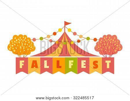 Hand Drawn Fall Fest Tent Simple Flat Color Vector Icon. Fall Fair Event Design Element. Autumn Harv