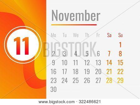 November Calendar 2020 Concept Banner. Cartoon Illustration Of November Calendar 2020 Vector Concept