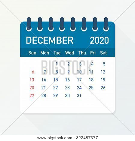December 2020 Calendar Leaf. Calendar 2020 In Flat Style. A5 Size. Vector Illustration.