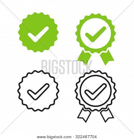 Checkmark Medal For Banner Design. Isolated Vector Illustration. Green Check Mark Icon. Certified Pr