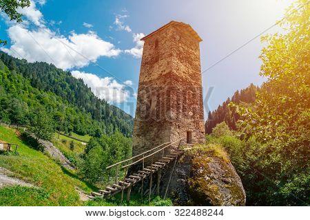 The Medieval Svan Love Tower On Enguri River, Kala Village, Samegrelo-zemo Svaneti, Georgia.