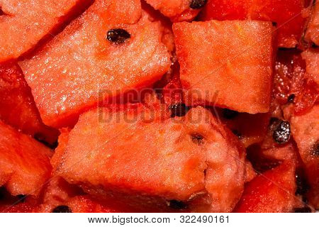 Ripe Red Watermelon.texture Of Red Watermelon With Bones.background Of Juicy Watermelon.