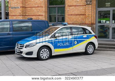 Hanover, Germany - June 8, 2019: German Polizei Police Car Mercedes-benz.