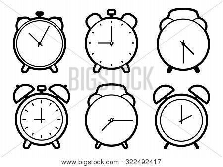 Set Of Alarm Clock Icons, Black Outline Design. Vector Illustration