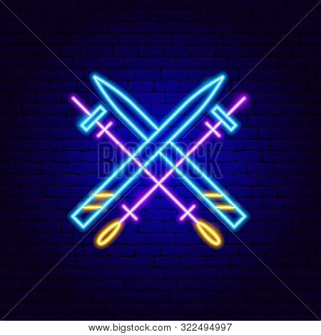 Skiing Neon Sign. Vector Illustration Of Sport Promotion.