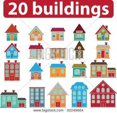 20 edifícios. vector