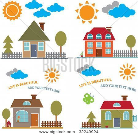 family houses - vector set # 22