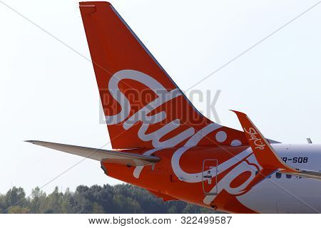 Borispol, Ukraine - September 10, 2019: A Part Of Ur-sqb Skyup Airlines Boeing 737-800 Aircraft With