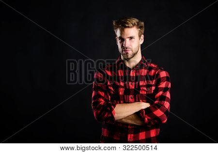 Standards Of Manliness Or Masculinity. Handsome Well Groomed Man In Checkered Shirt. Manliness Conce