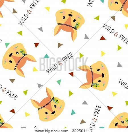 Seamless Pattern Of Cute Tribal Squirrel Face With Lettering Wild And Free Isolated On White Backgro