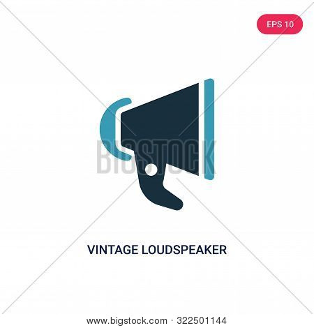 Vintage Loudspeaker Icon In Two Color Design Style. Vintage Loudspeaker Vector Icon Modern And Trend