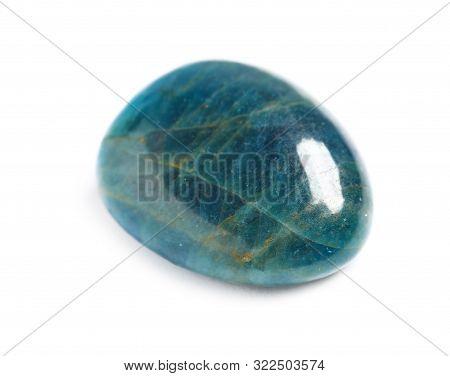 Beautiful Blue Apatite Gemstone On White Background