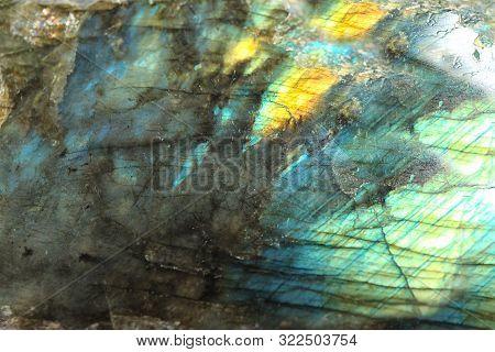 Beautiful Labradorite Gemstone On White Background, Closeup