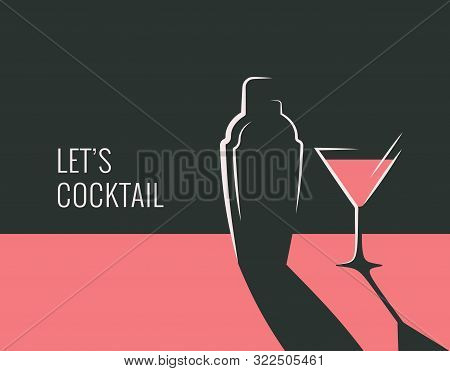Cocktail Party Banner. Shaker With Cocktail Glass