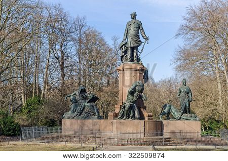 Berlin, Germany - February 17, 2019: Bismarck Memorial Portraying The First Chancellor Of The Empire