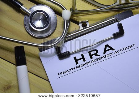 Health Reimbursement Account (hra) Text On Document Form Isolated On Office Desk.