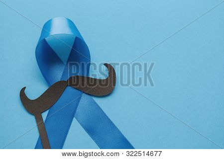 Light Blue Ribbons With Mustache On Blue Background , Prostate Cancer Awareness,men Health Awareness