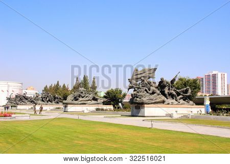NORTH KOREA, PYONGYANG - SEPTEMBER 20, 2017: Museum of Victory. Statue of a soldiers and sailors at the entrance to the Victorious Fatherland Liberation War Museum. North Korea (DPRK)