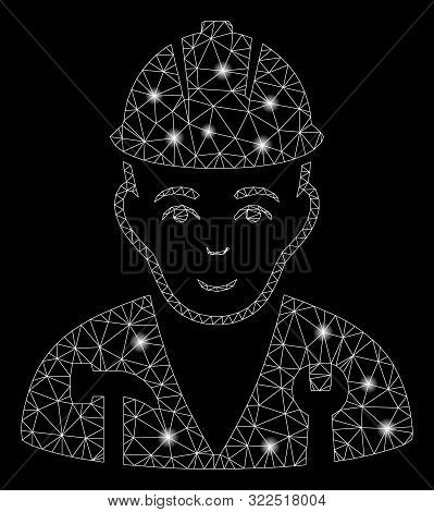 Glowing Mesh Serviceman With Glare Effect. Abstract Illuminated Model Of Serviceman Icon. Shiny Wire