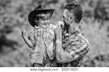 Little Boy And Father In Nature Background. Spirit Of Adventures. Strong Like Father. Power Being Fa