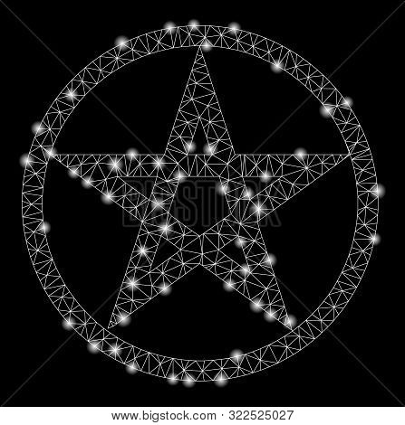 Glowing Mesh Star Pentacle With Glitter Effect. Abstract Illuminated Model Of Star Pentacle Icon. Sh