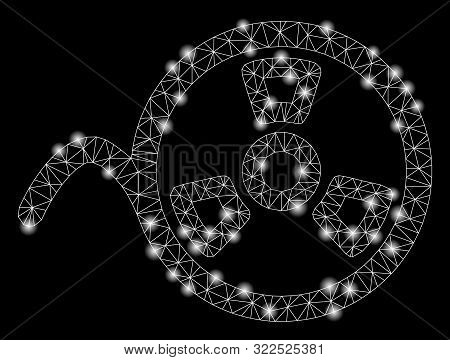 Bright Mesh Tape Reel With Sparkle Effect. Abstract Illuminated Model Of Tape Reel Icon. Shiny Wire