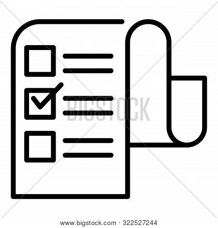 Long Checkbox List Icon. Outline Long Checkbox List Vector Icon For Web Design Isolated On White Bac