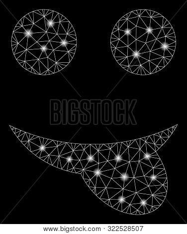Glossy Mesh Tongue Smiley With Glare Effect. Abstract Illuminated Model Of Tongue Smiley Icon. Shiny