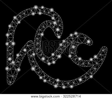 Glossy Mesh Tsunami With Sparkle Effect. Abstract Illuminated Model Of Tsunami Icon. Shiny Wire Fram