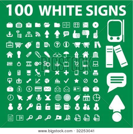 100 white universal signs. vector