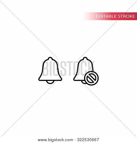 Bell Icon, Loud And Mute Simple Thin Line Vector. Doorbell, Sound And No Sound Symbol.