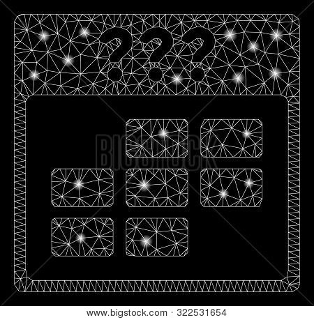 Glowing Mesh Unknown Month Calendar Grid With Lightspot Effect. Abstract Illuminated Model Of Unknow