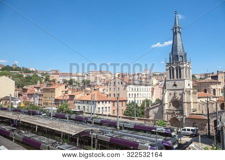 Lyon, France - July 14, 2019: Eglise Saint Paul De Lyon Church Facing The Plaftorms Of Gare De Lyon