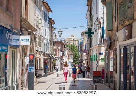 Bourgoin-jallieu, France - July 17, 2019: Rue De La Liberte, A Pedestrian Street With Traditional Fr