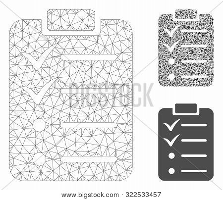 Mesh Todo List Model With Triangle Mosaic Icon. Wire Frame Triangular Mesh Of Todo List. Vector Mosa