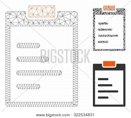 Mesh Pad Text Model With Triangle Mosaic Icon. Wire Carcass Polygonal Mesh Of Pad Text. Vector Mosai
