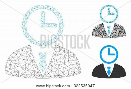 Mesh Time Manager Model With Triangle Mosaic Icon. Wire Carcass Triangular Mesh Of Time Manager. Vec
