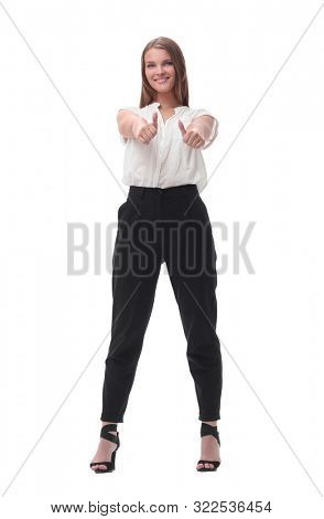 confident young business woman showing thumbs up.