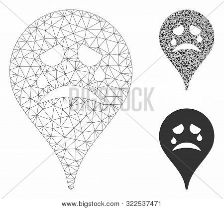 Mesh Tiers Smiley Map Marker Model With Triangle Mosaic Icon. Wire Frame Triangular Mesh Of Tiers Sm