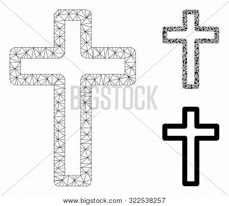 Mesh Tomb Cross Model With Triangle Mosaic Icon. Wire Frame Polygonal Mesh Of Tomb Cross. Vector Mos