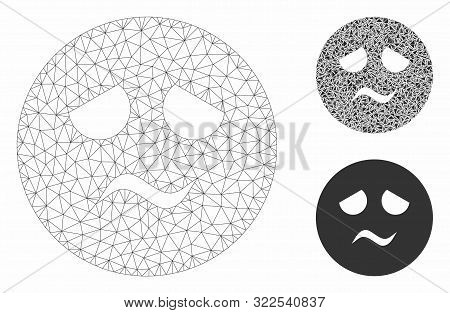 Mesh Trouble Smiley Model With Triangle Mosaic Icon. Wire Frame Polygonal Mesh Of Trouble Smiley. Ve