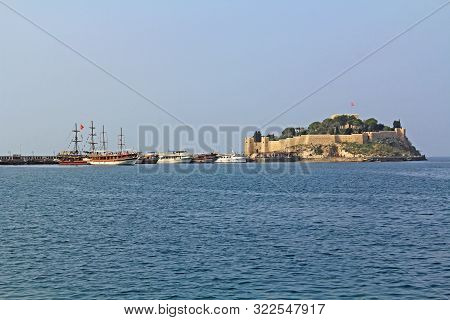 Kusadasi, Turkey - October 19, 2018:   Guvercinada Or Pigeon Island Is A Manmade Peninsula In The Ae