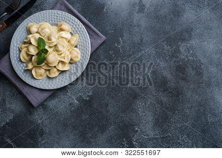 Dumplings Stuffed With Meat, Ravioli, Dumplings. Dumplings With Stuffing. Russian Cuisine. Copy Spac