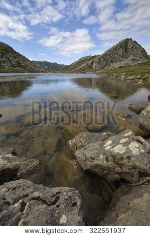 Covadonga Lakes At Picos De Europa Panorama With Uga